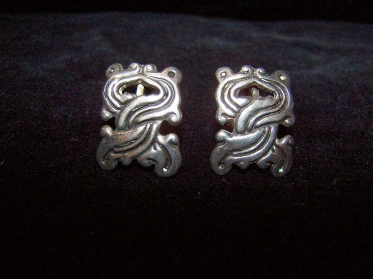 Pre-48 Mexican Silver Serpent Earrings
