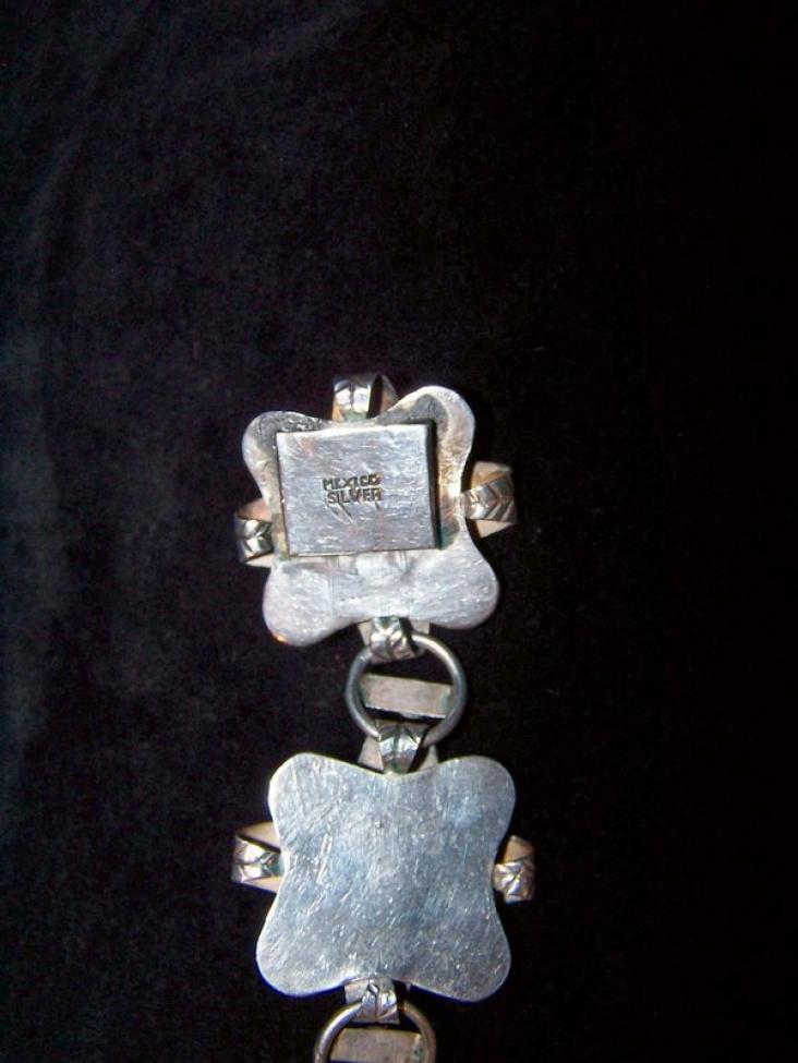 Amethyst Vintage Mexican Silver Bracelet Pre- 1948