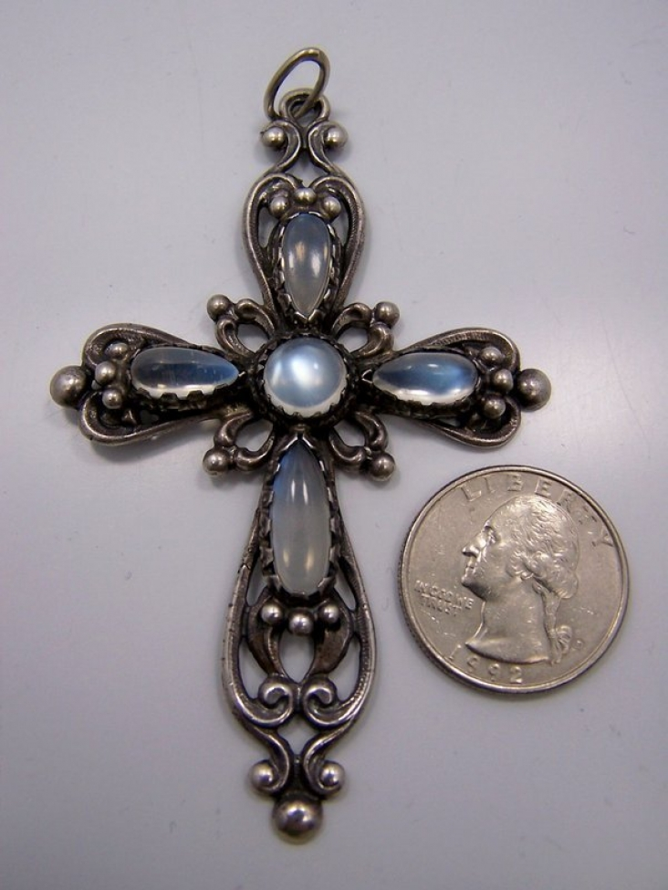 Moonstone Vintage Silver Cross Huge And Fabulous
