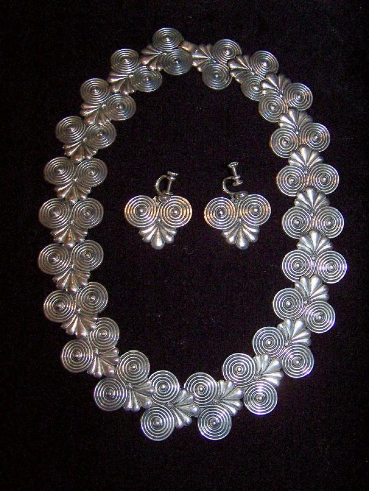 Repro- Margot de Taxco Necklace & Ers Mexican Silver