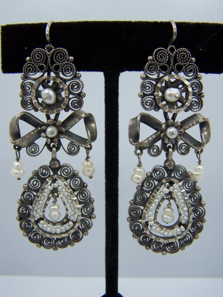 Filigree Vintage Mexican Silver Wedding Earrings