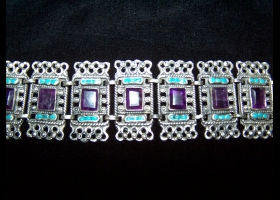 Incredible Vintage Mexican Silver Amethyst Necklace