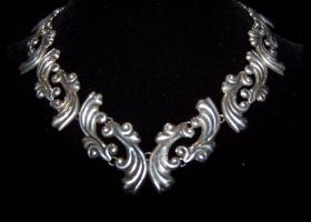 Vintage Mexican Silver Lico Necklace Pre-Eagle Set