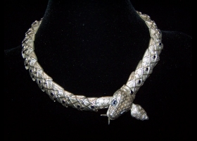 Salvador Teran Vintage Mexican Silver Emerald Necklace