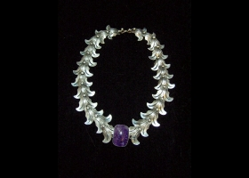 Vintage Taxco 980 Silver Fish W/ Amethyst Necklace